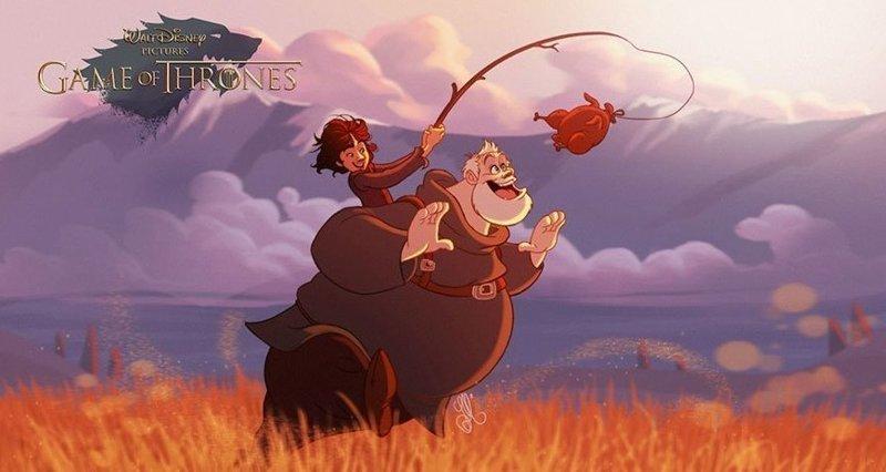 """Бран Старк и Ходор """"Игра престолов"""", disney, герой, иллюстрация, персонаж, сериал, художник"""