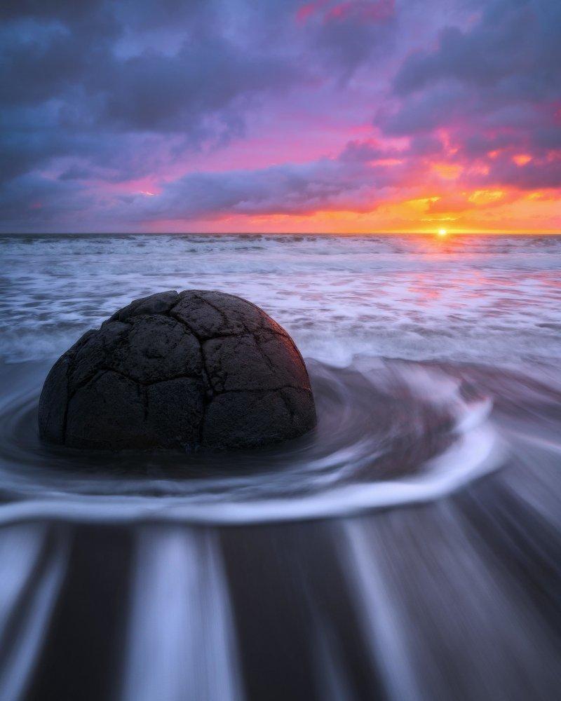Валуны Моераки, пляж Коекохе, Новая Зеландия день, животные, кадр, люди, мир, снимок, фото, фотоподборка