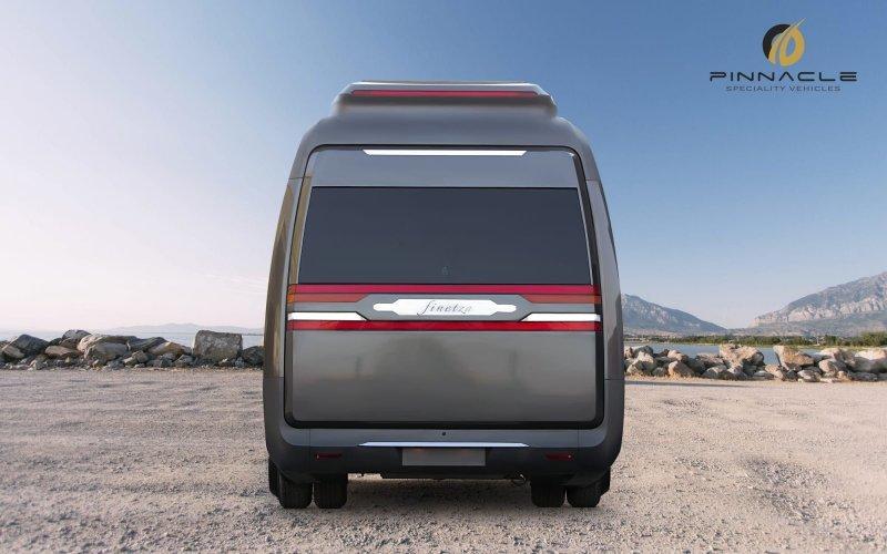Этот конкретный экземпляр рассчитан на четверых пассажиров, но Pinnacle утверждает, что при наличии спроса может создавать целую гамму подобных кемперов с вместимостью от двух до восьми человек. авто, автомобили, дом на колесах, кемпер, микроавтобус, офис на колесах