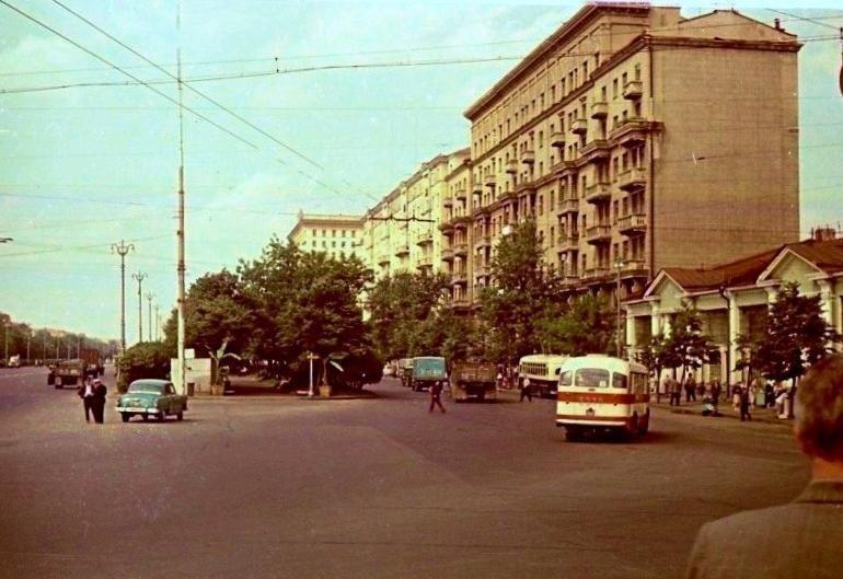 Ленинградский проспект.  1964г. СССР, ностальгия, улицы Москвы