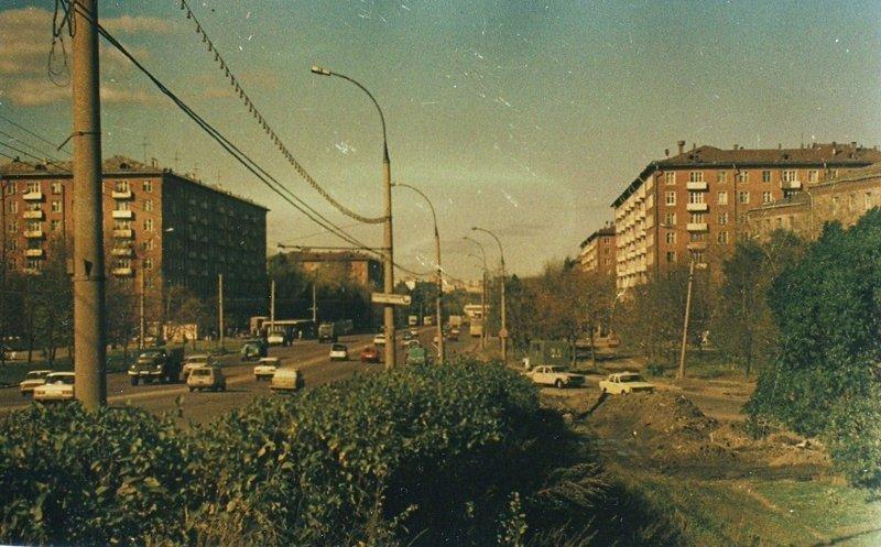 Дмитровское шоссе в сторону области.  1988—1990гг. СССР, ностальгия, улицы Москвы