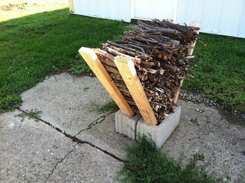 Древесина и кирпичи DIY или Сделай сам, дровница, самоделки для дома, своими руками, строительство