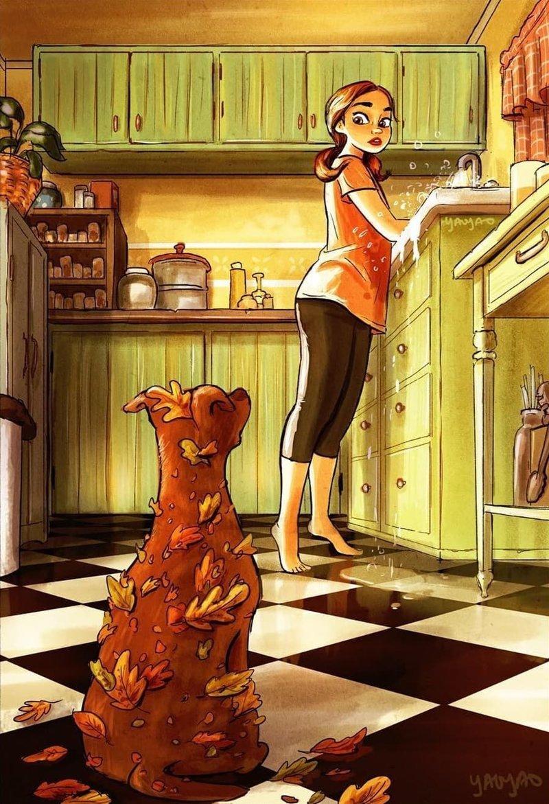 Художница создаёт рисунки, которые доказывают, что если у вас есть собака, то одиночества можно не бояться животные, иллюстрация, рисунки, собака, художница