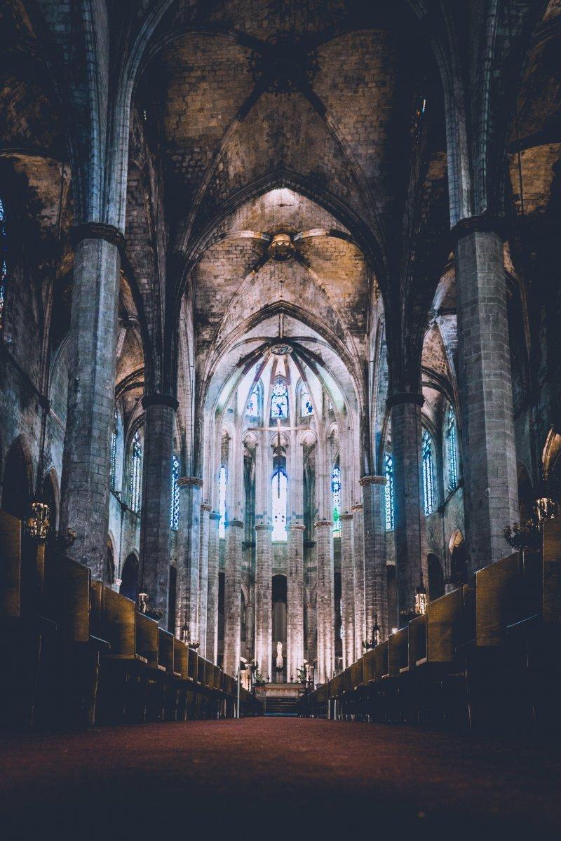 Церковь Санта-Мария-дель-Мар, Барселона, Испания день, животные, кадр, люди, мир, снимок, фото, фотоподборка
