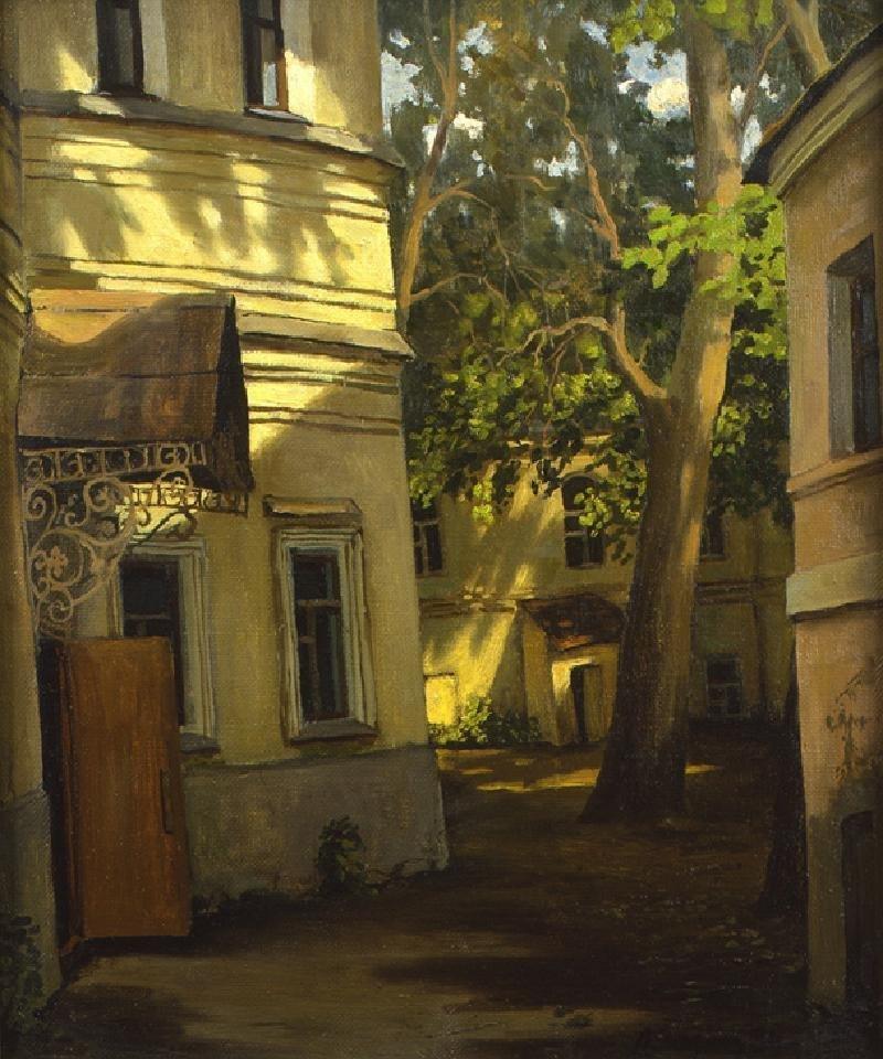 Двор в 1-ом Колобовском переулке владимир парошин, дворики, дворы детства, детство, искусство, картины
