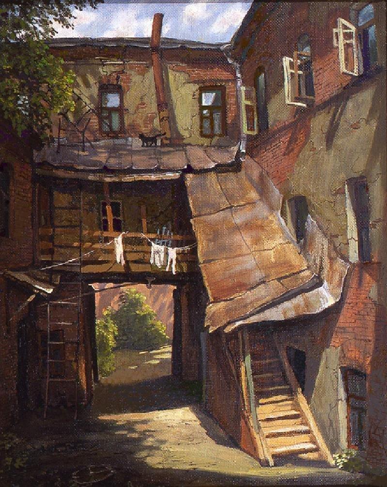 Двор в Кисельном тупике владимир парошин, дворики, дворы детства, детство, искусство, картины