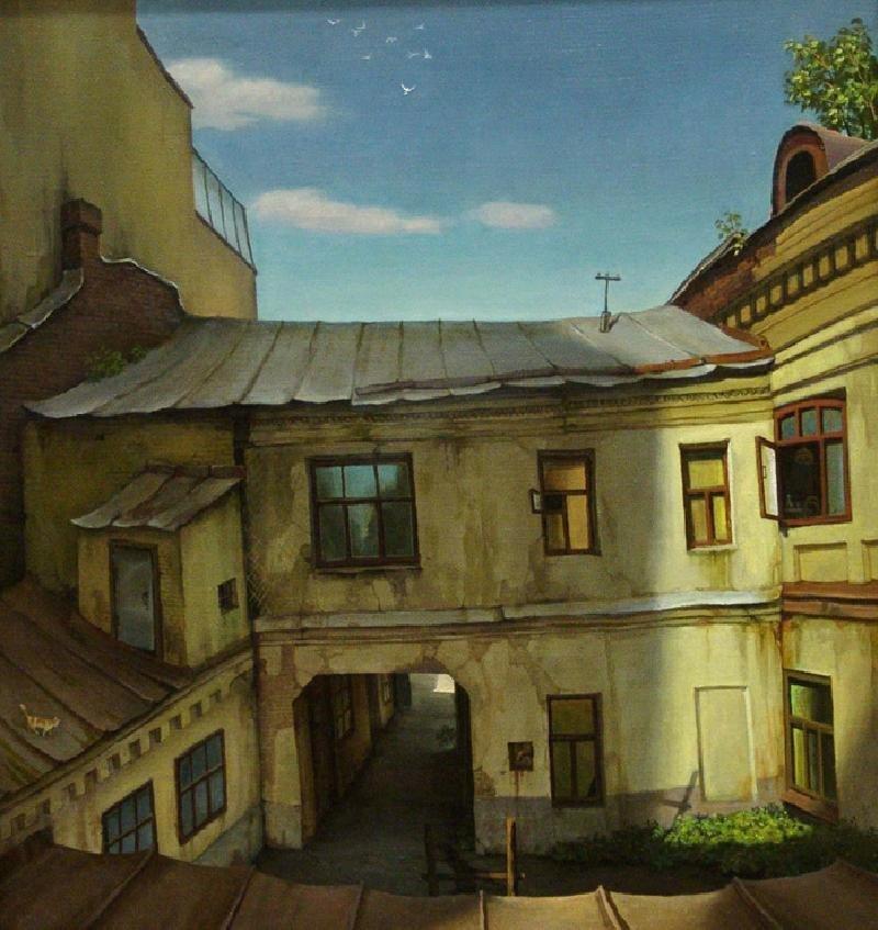 Прощайте, голуби. Двор на Цветном бульваре владимир парошин, дворики, дворы детства, детство, искусство, картины