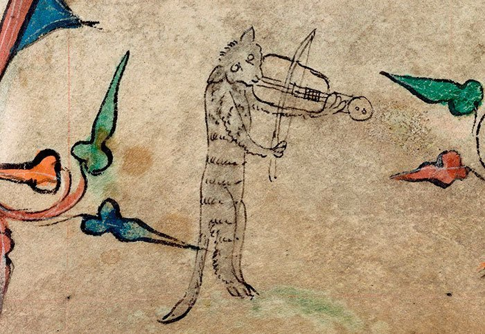 Игра на скрипке  искусство, картина, кот, кошка, портрет, смех, средневековье, уродство