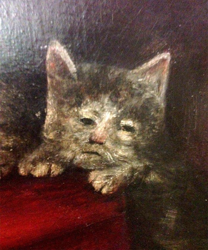 Явно устал от жизни искусство, картина, кот, кошка, портрет, смех, средневековье, уродство