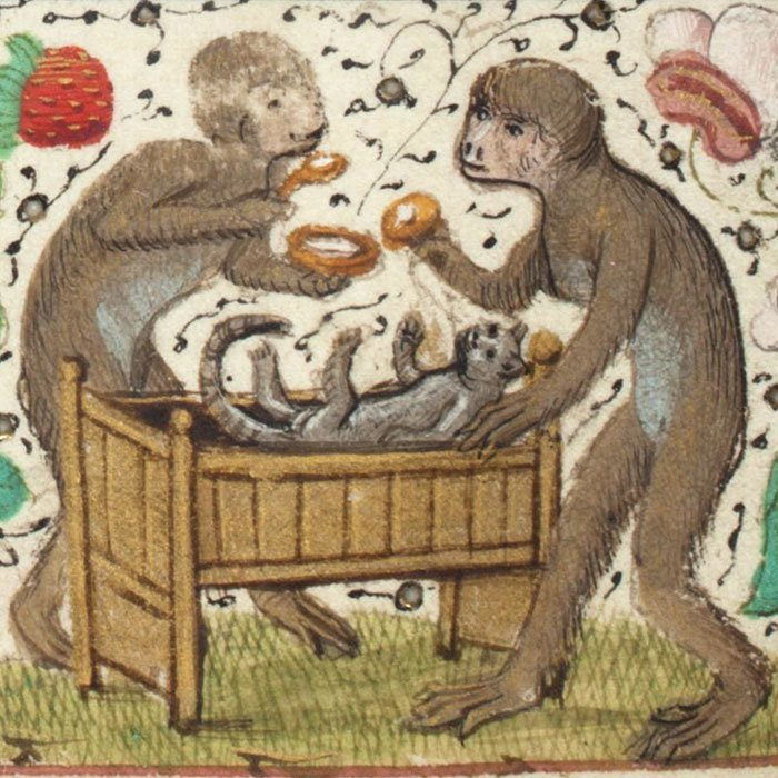 Малыш в кроватке искусство, картина, кот, кошка, портрет, смех, средневековье, уродство