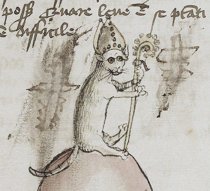 Кот-епископ  искусство, картина, кот, кошка, портрет, смех, средневековье, уродство