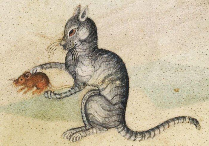 Охотник  искусство, картина, кот, кошка, портрет, смех, средневековье, уродство