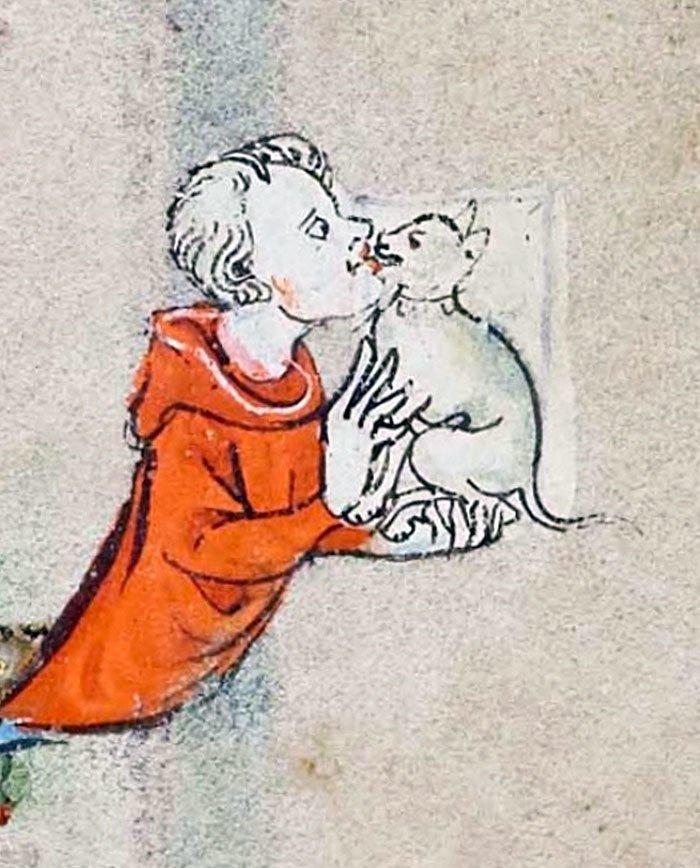 Единственная любовь  искусство, картина, кот, кошка, портрет, смех, средневековье, уродство