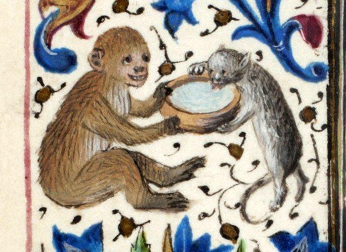 Что-то тут не так искусство, картина, кот, кошка, портрет, смех, средневековье, уродство