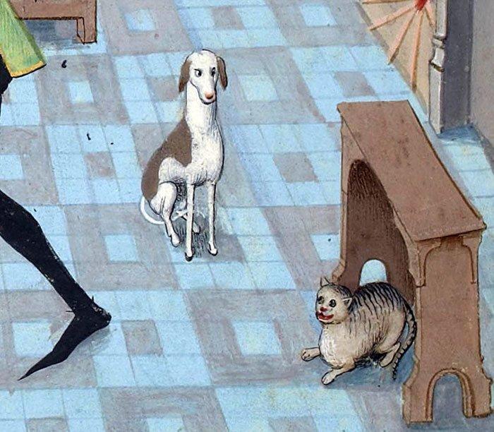 Собачья зависть  искусство, картина, кот, кошка, портрет, смех, средневековье, уродство