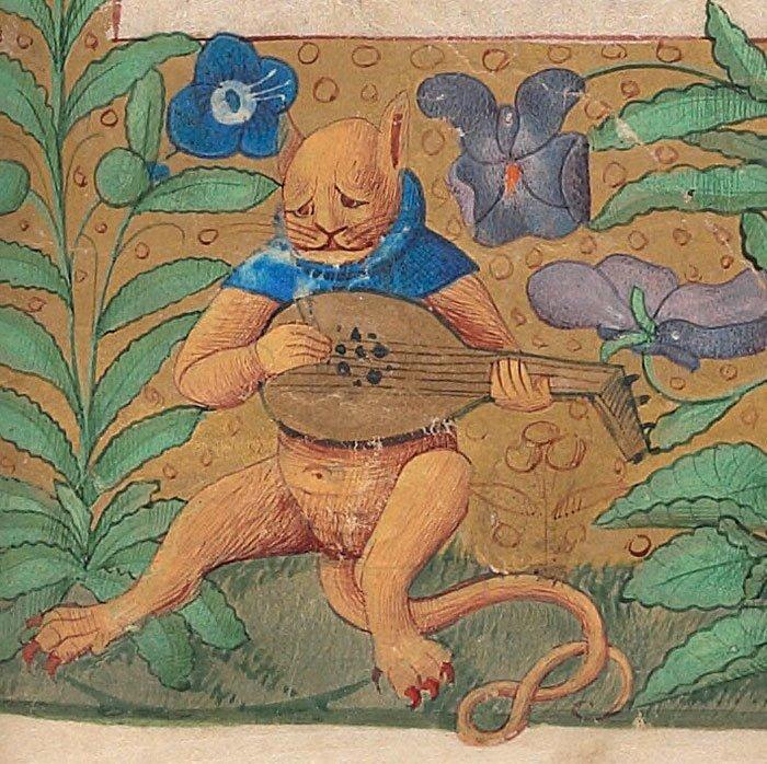 Меланхолик играет на лире  искусство, картина, кот, кошка, портрет, смех, средневековье, уродство