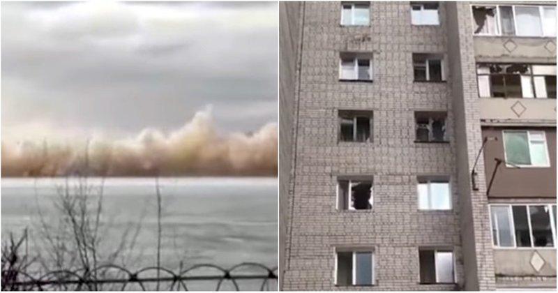 В Казахстане из-за подрыва льда на реке Иртыш десятки квартир остались без окон ynews, взрыв, взрывная волна, видео, иртыш, казахстан, лед, река