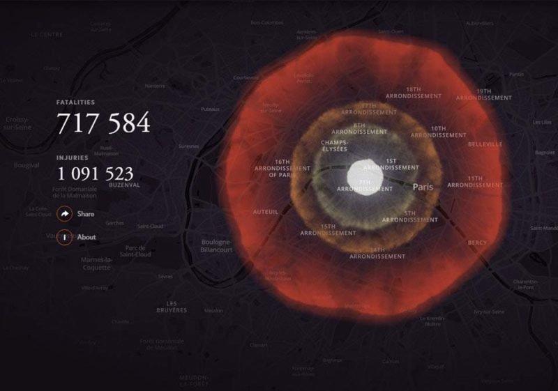 Париж (Франция) бомба, в мире, симулятор, ядерная бомбардировка