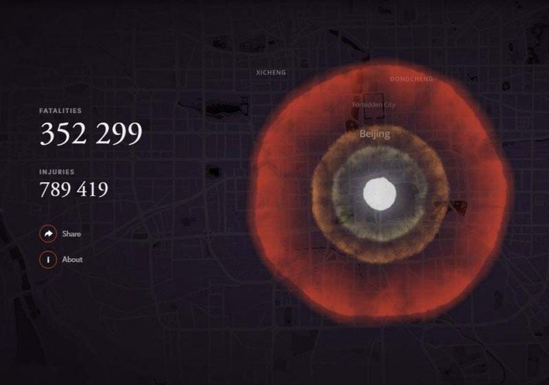 Пекин (Китай) бомба, в мире, симулятор, ядерная бомбардировка