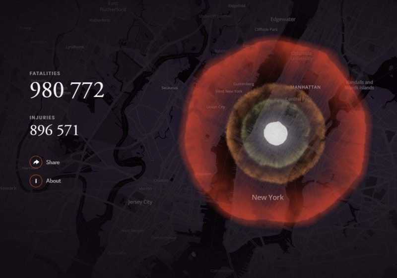 Нью-Йорк (США)   бомба, в мире, симулятор, ядерная бомбардировка