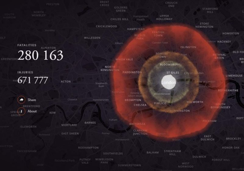 Лондон (Великобритания) бомба, в мире, симулятор, ядерная бомбардировка