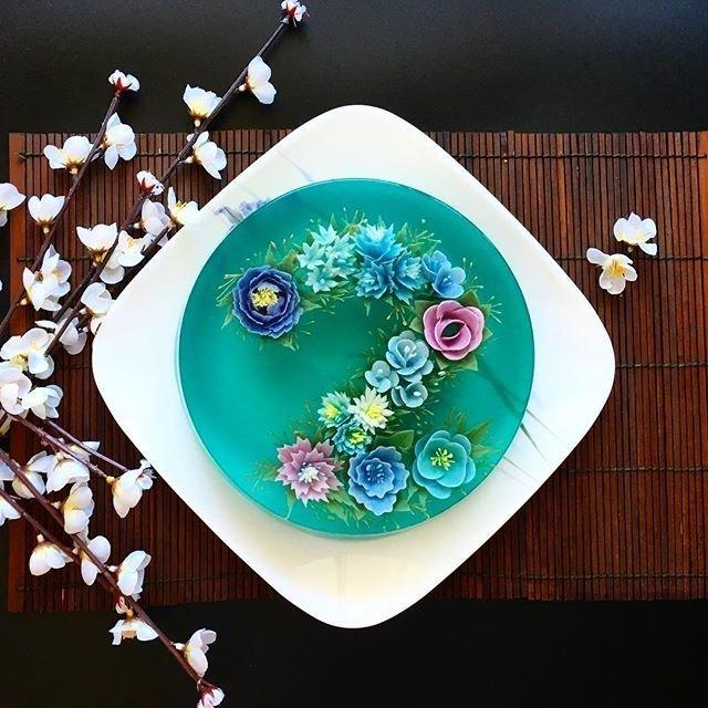 Художник-кондитер создает 3D-торты из желе, цветущие на тарелке еда, желе, красота, торт, цветы