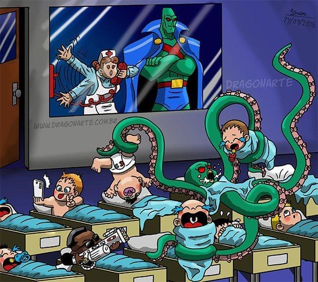 8. Малыш Марсианского Охотника дети, иллюстрация, комиксы, персонаж, ребенок, супергерой, художник