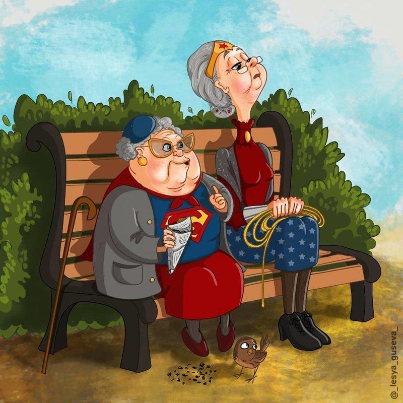 3. Супергёрл и Чудо женщина искусство, пенсия, рисунок, супергерои, художница
