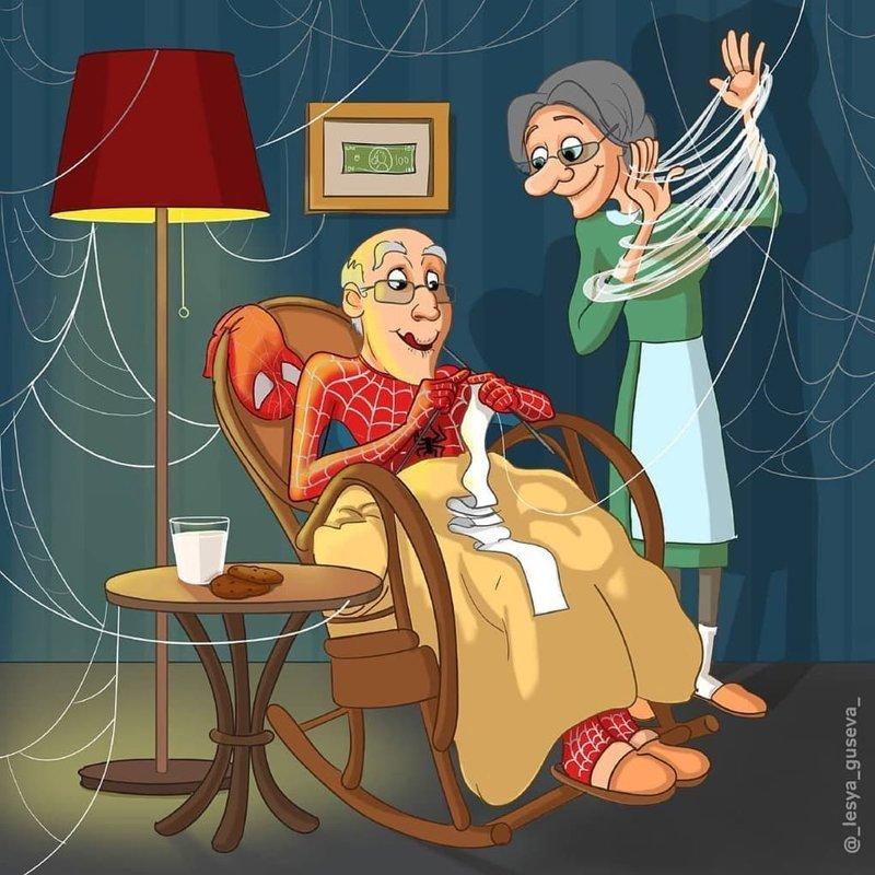 6. Человек-паук искусство, пенсия, рисунок, супергерои, художница