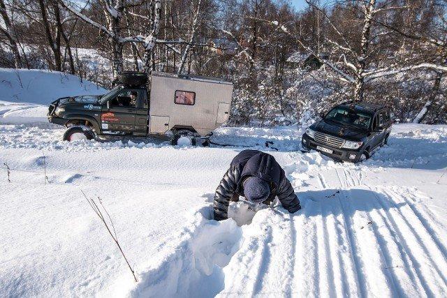 Как мужики с Тойотами УАЗ нагибали снег, тойота, уаз