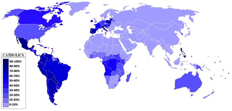 Процентное соотношение католиков по странам карта, карты, распространение религий, религии, религиозные карты, религия