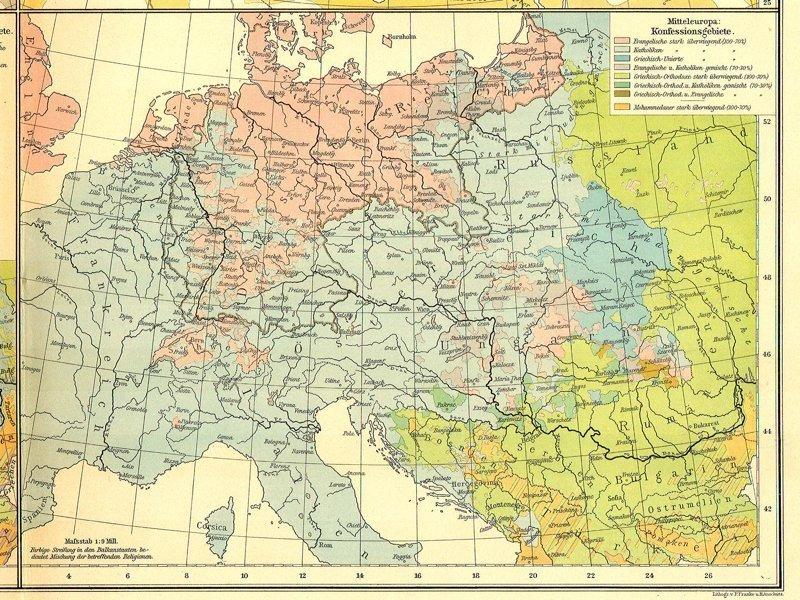 Карта распространения религий в Центральной Европе, 1899 г. карта, карты, распространение религий, религии, религиозные карты, религия