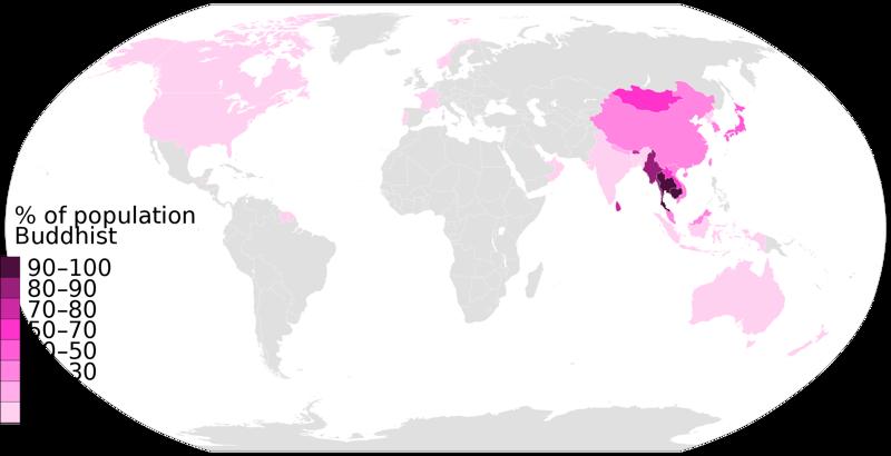 Распространённость буддизма в наше время карта, карты, распространение религий, религии, религиозные карты, религия