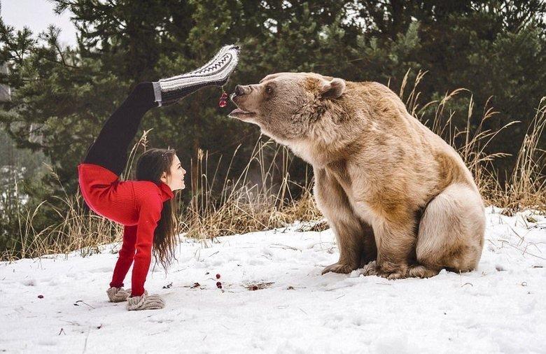 11. Обычные развлечения в стране. С медведем. действительность, медведи, россия, русский, фото, экстрим