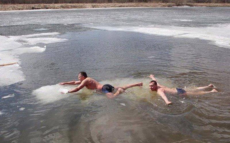 4. Экстрим по-русски – плавание на льдинах. действительность, медведи, россия, русский, фото, экстрим