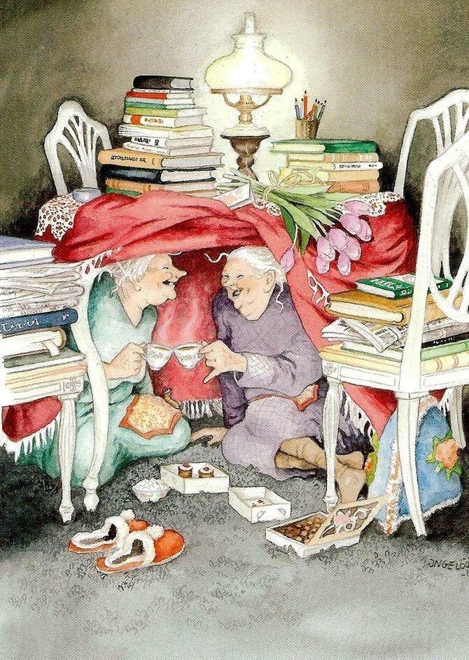 Игра в «домики». бабушки, открытки, позитив, старушки