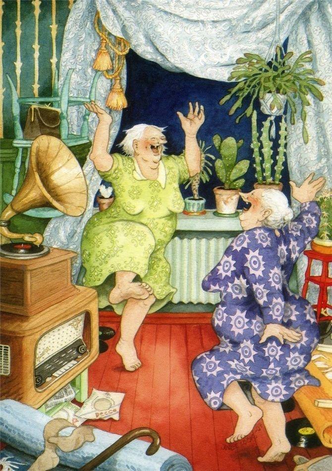 А у нас сегодня танцы. бабушки, открытки, позитив, старушки