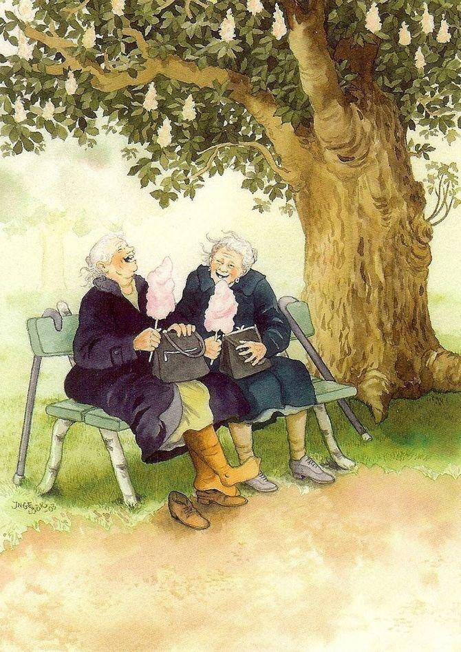 Сладкая вата в парке. бабушки, открытки, позитив, старушки