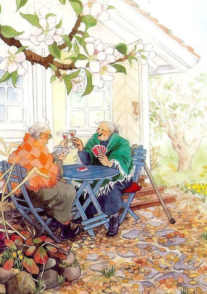 Игра в карты. бабушки, открытки, позитив, старушки