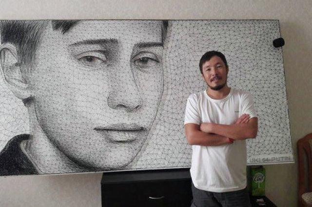 30-летний Азамат Джаналиев сделал из гвоздей и ниток портрет молодого Путина искусство, поклонники, портреты, путин, умельцы