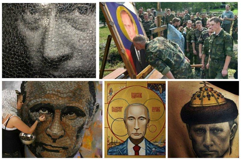 Культ личности - его портреты  от поклонников искусство, поклонники, портреты, путин, умельцы