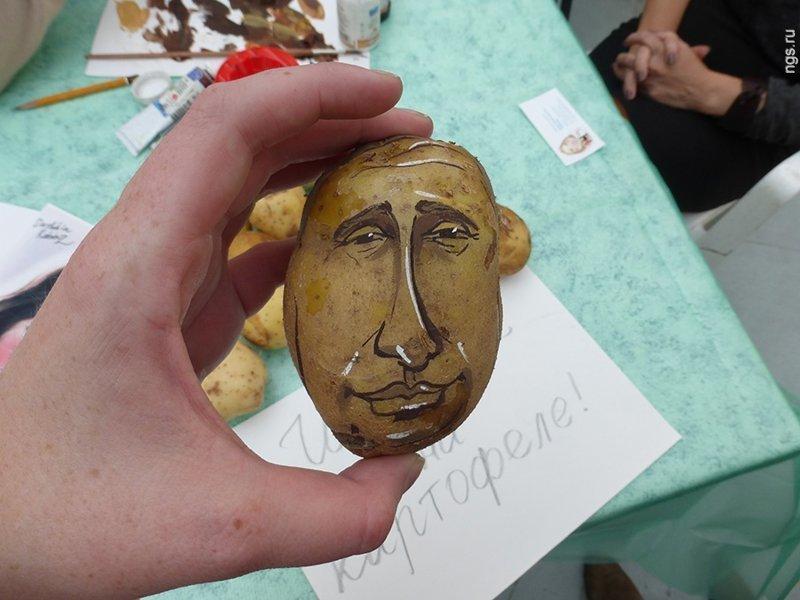 Портрет на картошке искусство, поклонники, портреты, путин, умельцы