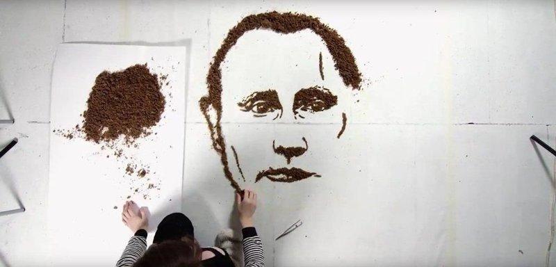 А вот портрет из хлеба и хлебных крошек от литовки Йолиты Вайткуте. Портрет, после создания, был отдан курам на съедение искусство, поклонники, портреты, путин, умельцы