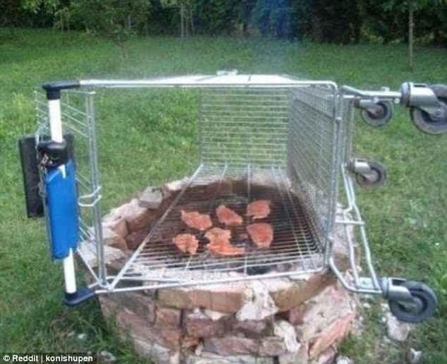 2. Украсть тележку из супермаркета, чтобы пожарить на ней стейки Лайфхак, гениально, забавно, изобретения, подборка, смекалка, советы, фото