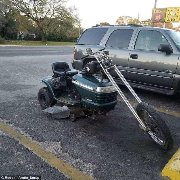 4. Соорудить мотоцикл из газонокосилки Лайфхак, гениально, забавно, изобретения, подборка, смекалка, советы, фото