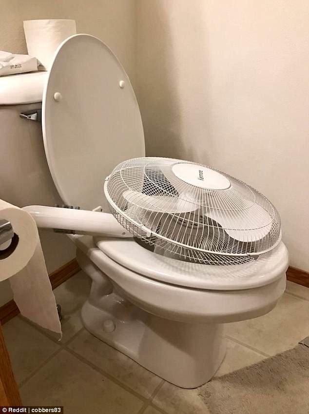 6. Сэкономить на увлажнителе воздуха, и сделать его из вентилятора и унитаза Лайфхак, гениально, забавно, изобретения, подборка, смекалка, советы, фото