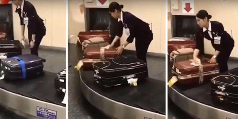 Японка в аэропорту поразила всех своим отношением к багажу ynews, аэропорт, багаж, видео, интересное, удивительное, японцы
