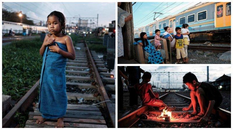Правдивые фотографии из трущоб Джакарты бедность, джакарта, железная дорога, индонезия, нищета, репортаж, трущобы