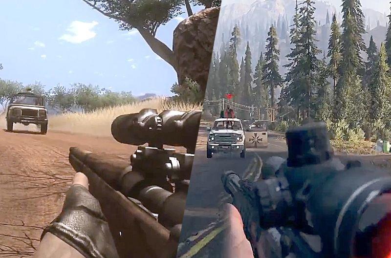Far Cry 2 вышла 21 октября 2008 года, а Far Cry 5 увидела свет 27 марта 2018. Обе игры используют движок Dunia Engine Far cry, видео, геймер, детали, игры, сравнение, тогда и сейчас