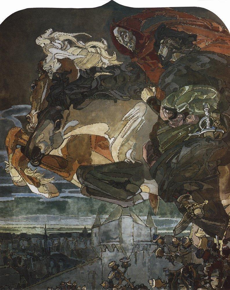 Полет Фауста и Мефистофеля. 1896 Врубель, биография, великие имена, искусство, картины, керамика, творчество, художник